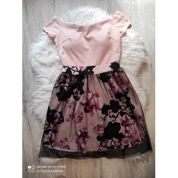 Sukienka hiszpanka pudrowy róż w kwiaty wesele S/M