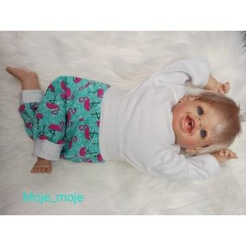 Legginsy spodnie handmade 0-3 miesięcy