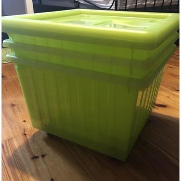 Zielone pudełka na przechowywanie IKEA