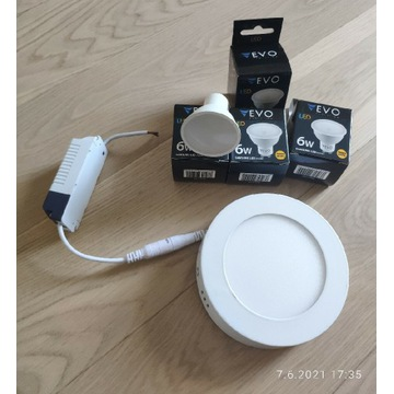 Panel LED + 4 żarówki GU10 SamsungEVO LED 3000K 6W
