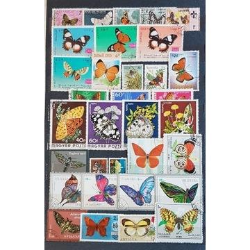 Zestaw znaczków kasowanych [ ], motyle, świat.