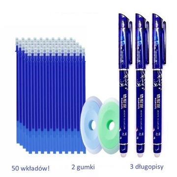 Długopisy ścieralne zmywalne 55 szt. komplet