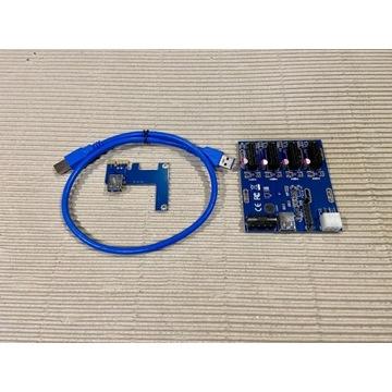 ADAPTER SPLITTER Risery PCI-E 1x na 4x USB 3