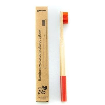 Bambusowa szczoteczka do zębów eko twarda czerwona