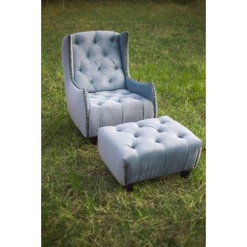 Fotel uszak  z pufa pikowany guzikami