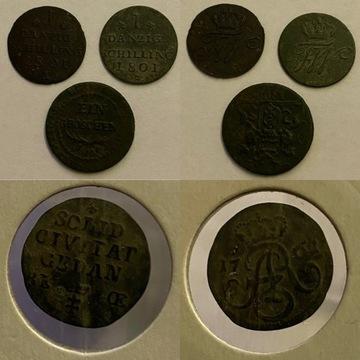 Gdański LOT 4 szt.1761, 2x 1801, 1809. RZADSZE (!)