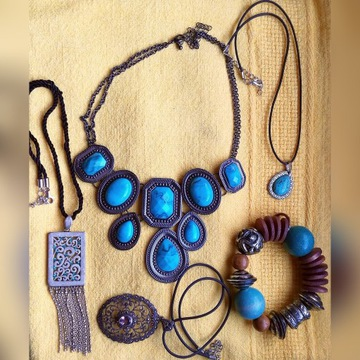 Zestaw biżuterii turkus naszyjnik bransoletka