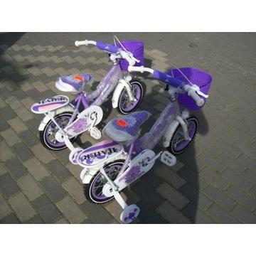 Rowerek 12 cali Fioletowy dla dziecka 2+ nowy