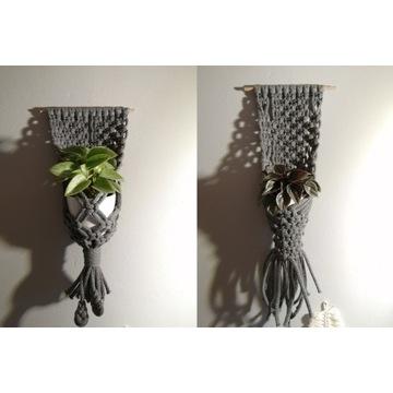 Zestaw 2 makramy, kwietnik na kwiaty sznuerk