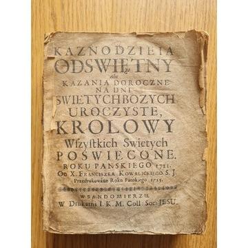 Kaznodzieia odświętny; kazania starodruk 1725 rok