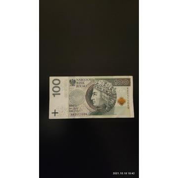 Unikatowe oryginalne banknoty 100 zł z serii AA