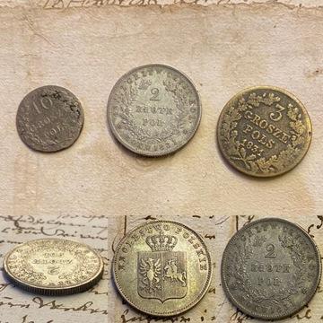 Powstanie Listopadowe 2 ZLOTE, 10 Gr, 3 Gr 1831 !!