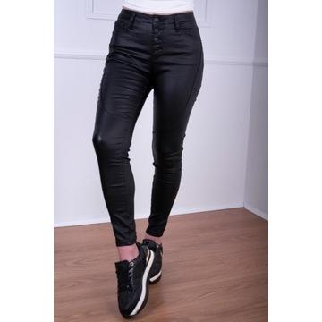 Spodnie woskowane z przeszyciami  czarne rurki