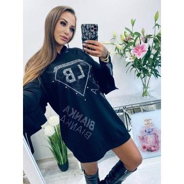 Sukienka 10453 black cyrkonie one size
