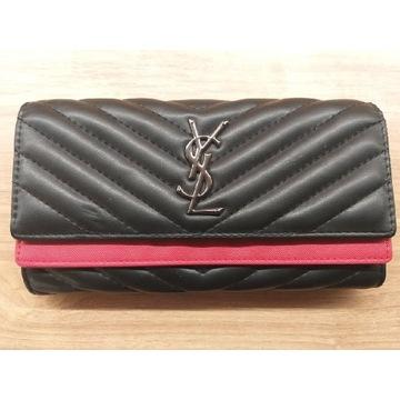 Elegancki damski portfel czarno czerwony