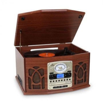 Gramofon nagrywajacy MP3, brązowa obudowa drewni