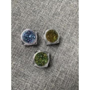Zestaw 3 pyłków do paznokci chameleon folia cień