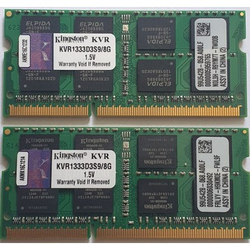 Pamięć do notebooka 2x Kingston 8GB DDR3