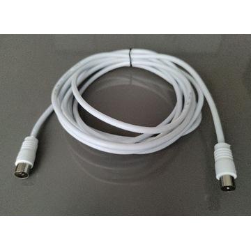 Przedłużacz kabel antenowy TV Video Sat biały 3m