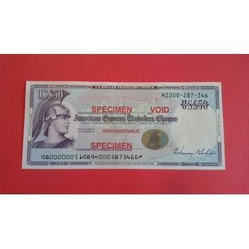 US DOLLARS TRAVELERS CHEQUE - SPECIMEN - 50 US