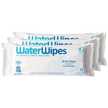 Waterwipes 3x 60 chusteczki nasączone czystą wodą