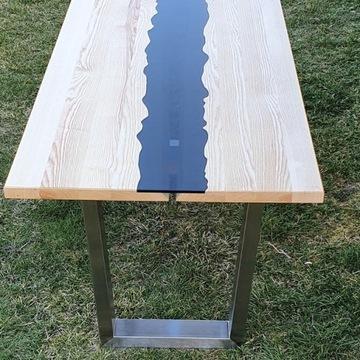 Stół dębowy/jesionowy  - drewno plus szyba