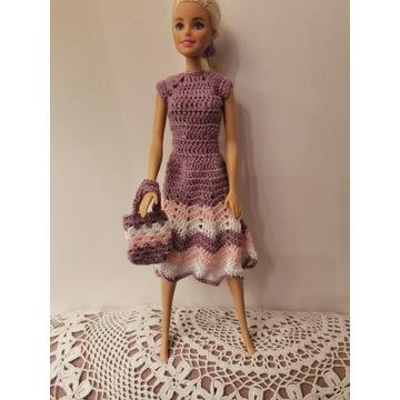 Fioletowa sukienka dla lalki Barbie