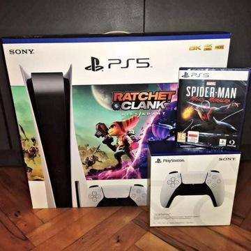 Sony Playstation 5 + 2 pady + 2 gry Zestaw