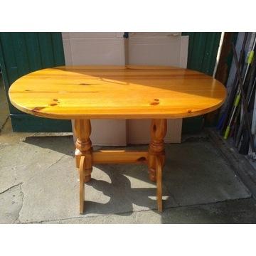 stół sosnowy owalny nogi toczone