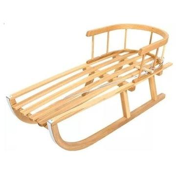 Sanki drewniane siedzenie + oparcie + sznurek NEW