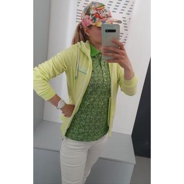 Benetton zielona koszulka polo w kwiatki