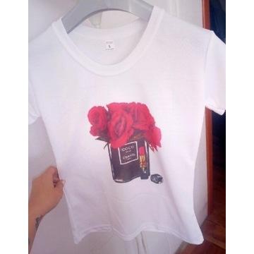 Koszulka t-shirt bluzka biała Coco kwiaty od 1 zł