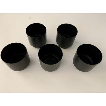 metalowe matowe czarne osłonki na doniczki