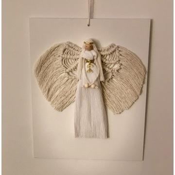 Aniołek makrama Chrzciny Komunia Anioł Stróż