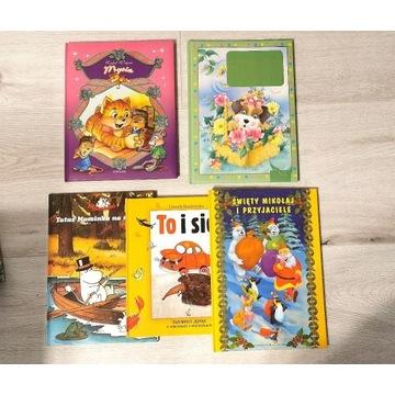 5 x Książki dla dzieci * MUMINKI, Mysia, Mikołaj