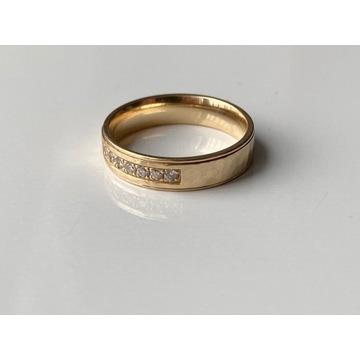 Obrączka ślubna, złoto (au-585), diamenty, brylant