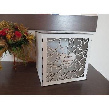 Serca Pudełko drewniane  na koperty, ślub, wesele