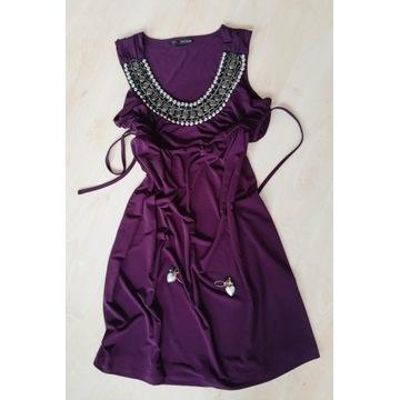 Sukienka fiolet, dzianina na lato, M/38 + kolczyki