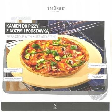 Kamień do pizzy z nożem podstawką kordieryt smukee