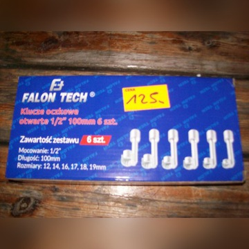 Klucze oczkowe otwarte Falon Tech 1/2 100 mm 6 szt