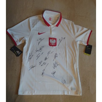 Nowa koszulka Nike Polska autografy Lewandowski