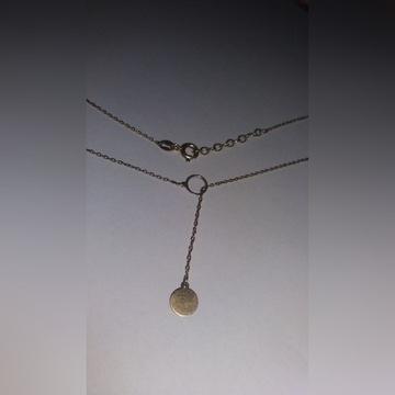 Pozłacany naszyjnik krawatka kółko z YES