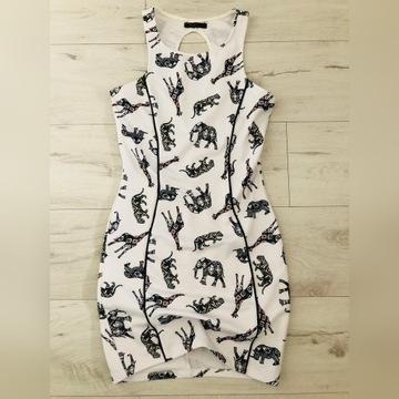 BERSHKA Sukienka NOWA S 36 tunika biała