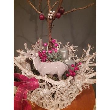 Stroiki świąteczne,w drewnianej doniczce,święta