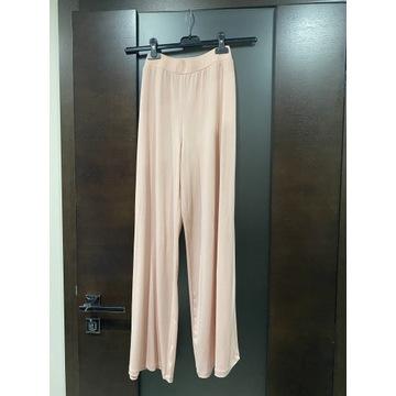 Spodnie NOWE różowe luźne 36 pudrowy róż szerokie