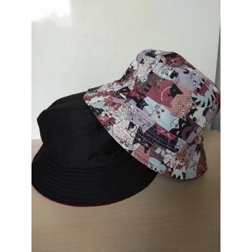 Dwustronny kapelusz bucket hat koty czapka