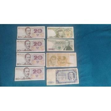 Stare polskie banknoty 1948-1988 + Jugosławia 100d