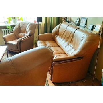 Komplet wypoczynkowy, kanapa i fotele skórzane