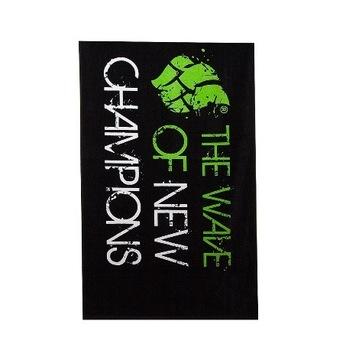 Duży ręcznik MadWave - bawełna - czarno / zielony