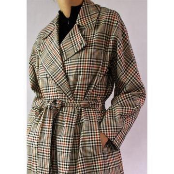 Płaszcz w kratę French Connection 100% bawełna S